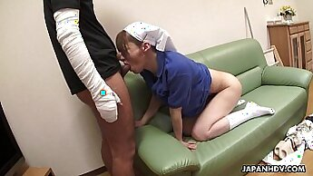 Asian Nurse Doggystyle and Creampie