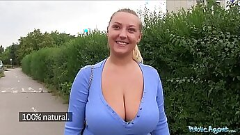 Cute blond haired hottie with fake boobs gets slammed hard in the public toilet