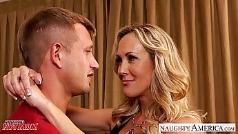Busty blond mom sucking and fondles cock
