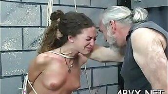 Cruel wanking and pussy banged