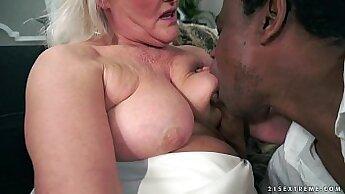 British Granny takes huge black cock gonzo