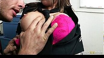 Busty coed with pigtails Courtney Cummz giving surprise blowjob