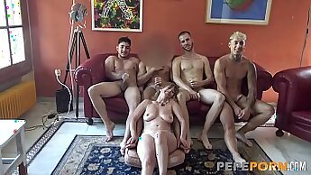Beautiful gals orgy young guy